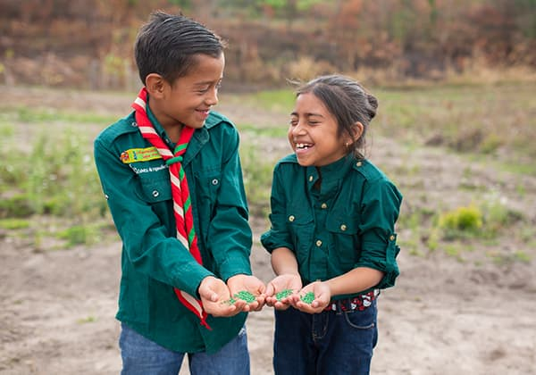 boy and girl with seeds