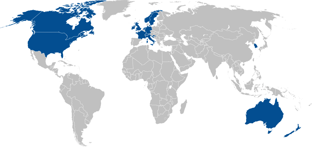 World Map of Partner Countries