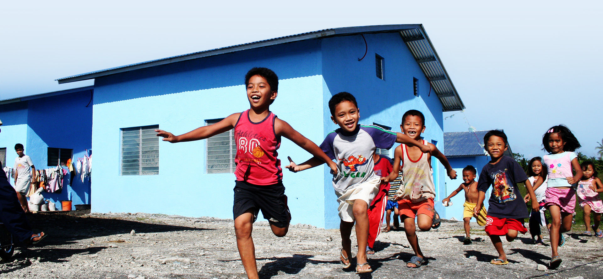 Children running and smiling