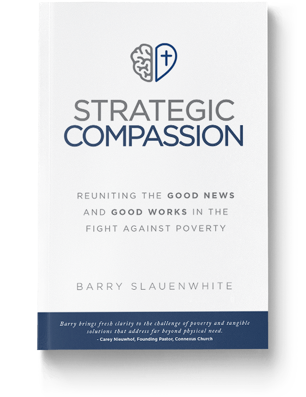A product photo of the book strategic compassion. It shows the cover, the title, and the cover's lead line: reuniting the good news with good works in the fight against poverty.